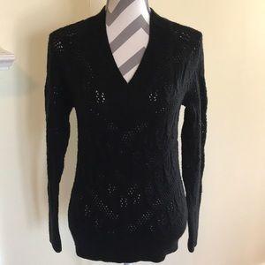 Sonoma Black V-Neck Open Knit Sweater